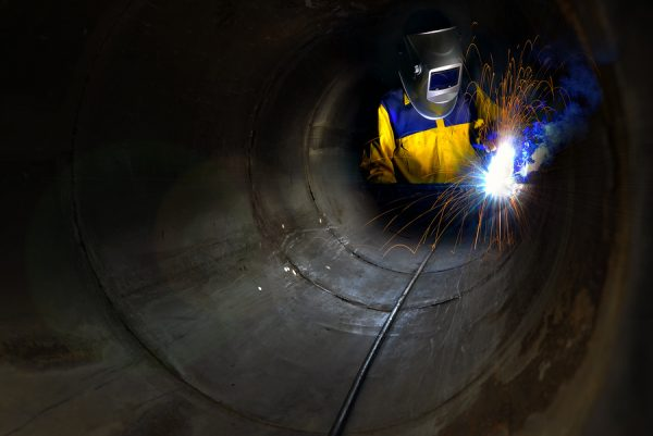 Construction working in confined spaces./